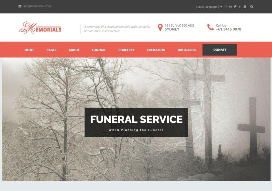 Memorials Best Funeral WordPress Theme