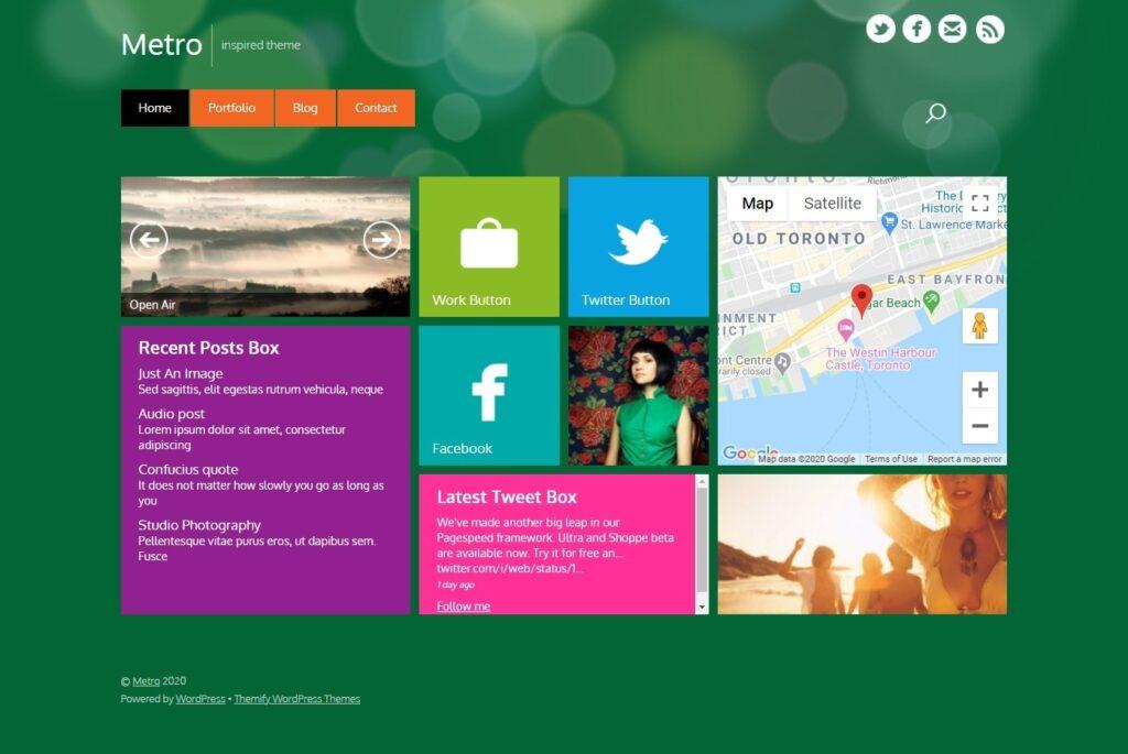 Metro Clean Well Organized Metro Inspired WordPress Theme