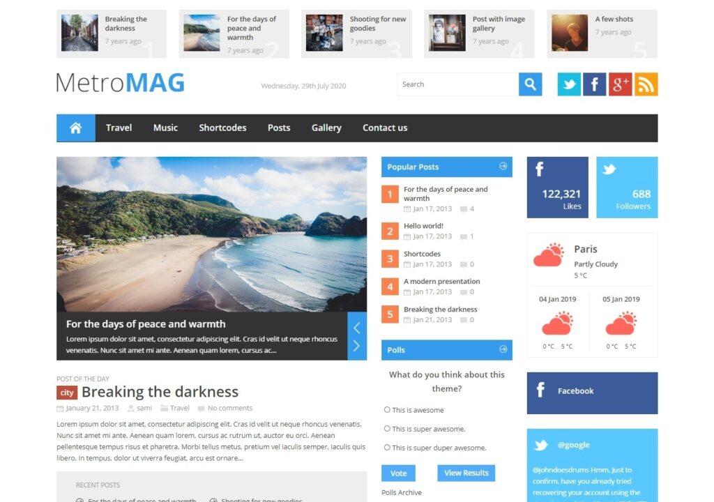Metro Magazine WordPress Theme with Hints of Metro Style