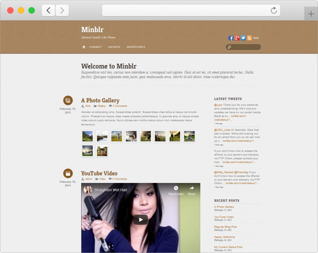 Minblr Tumblr Style WordPress Theme