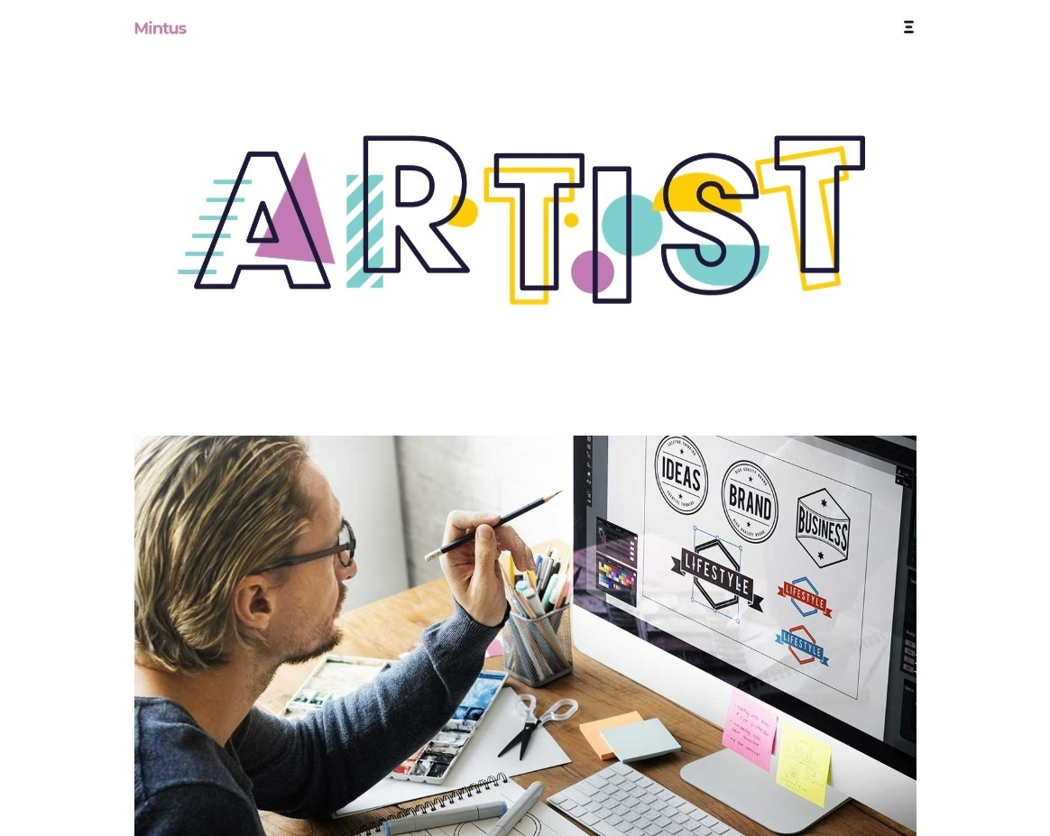 Mintus Centered Portfolio Example for Illustrators