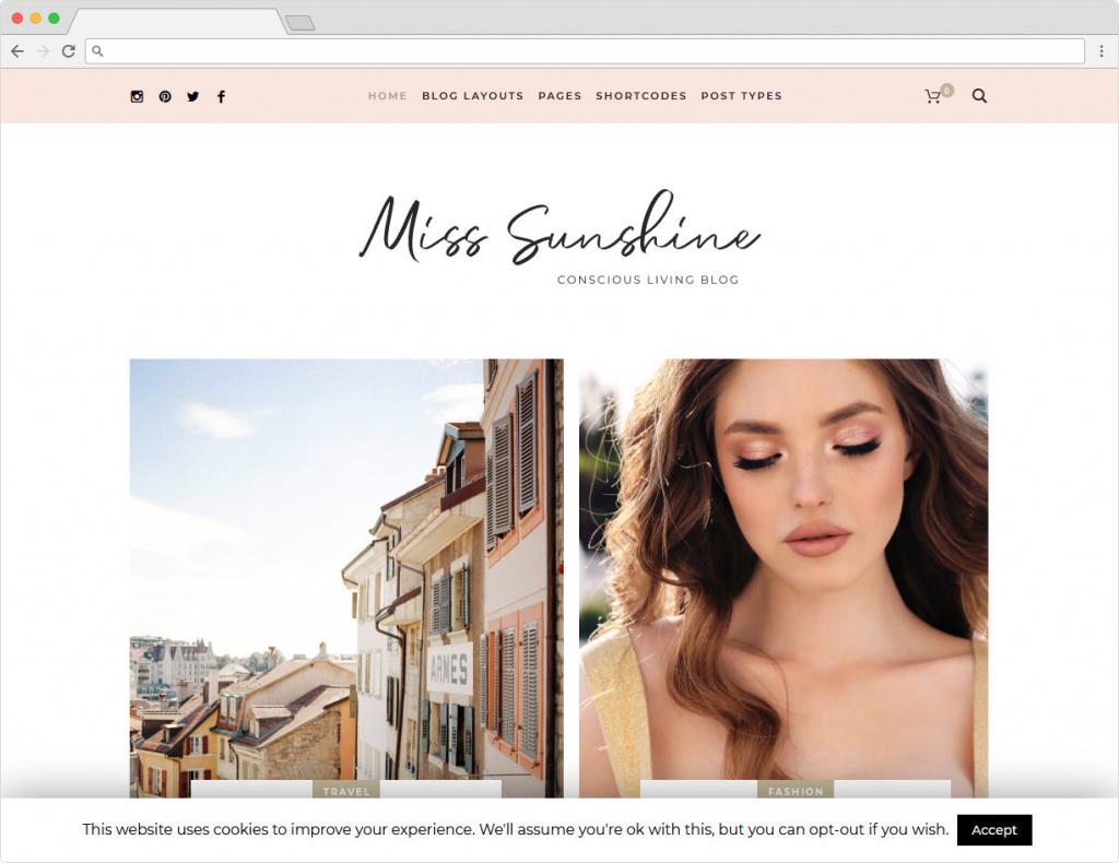 Miss Sunshine WordPress Lifestyle Blog Theme