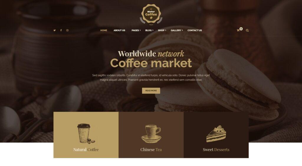Mister Coffee WordPress Theme for Coffee Tea and Dessert Shops