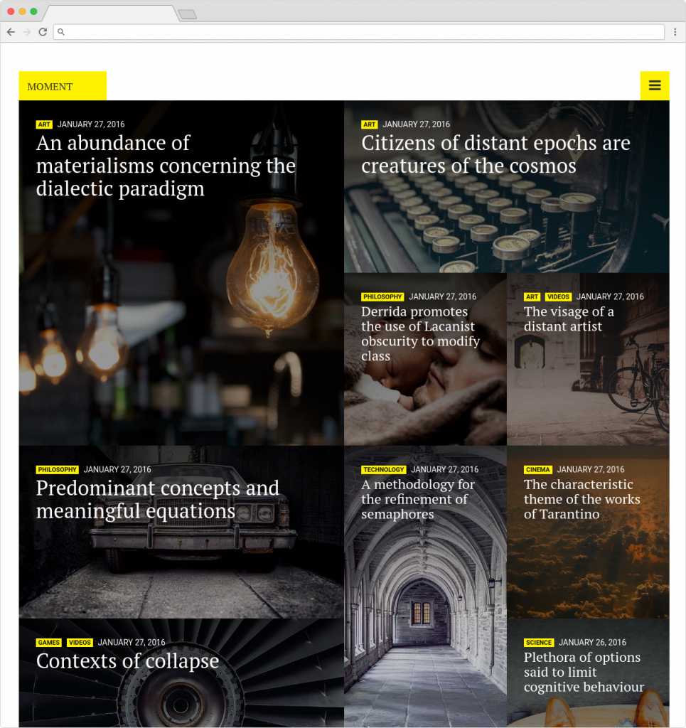 Moment Blog Theme Design Typography and Magazine Theme