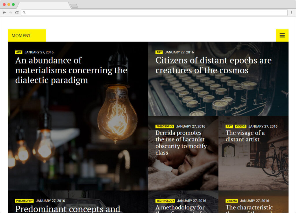 Moment Typography Concentrated Minimalist Magazine Theme