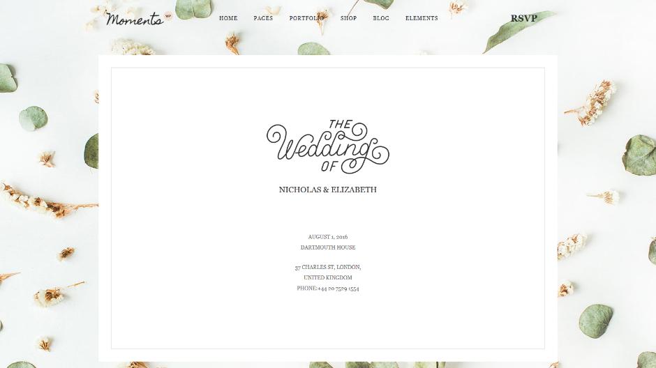 Moments Wedding Invitaion WordPress Theme