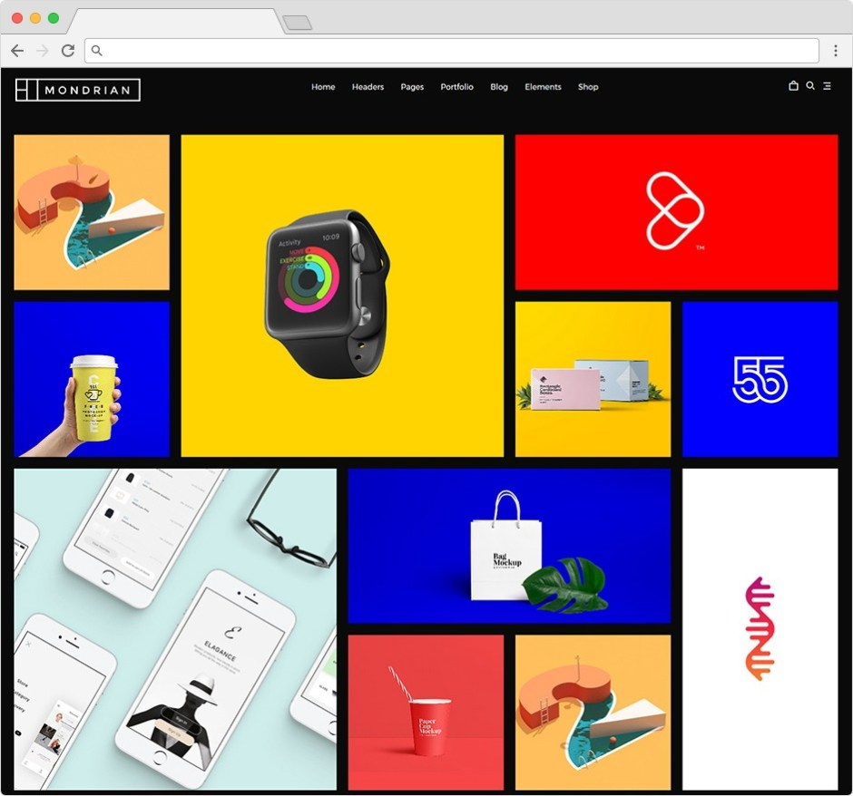 Mondrian Page Builder Theme With Attractive Grid Layout