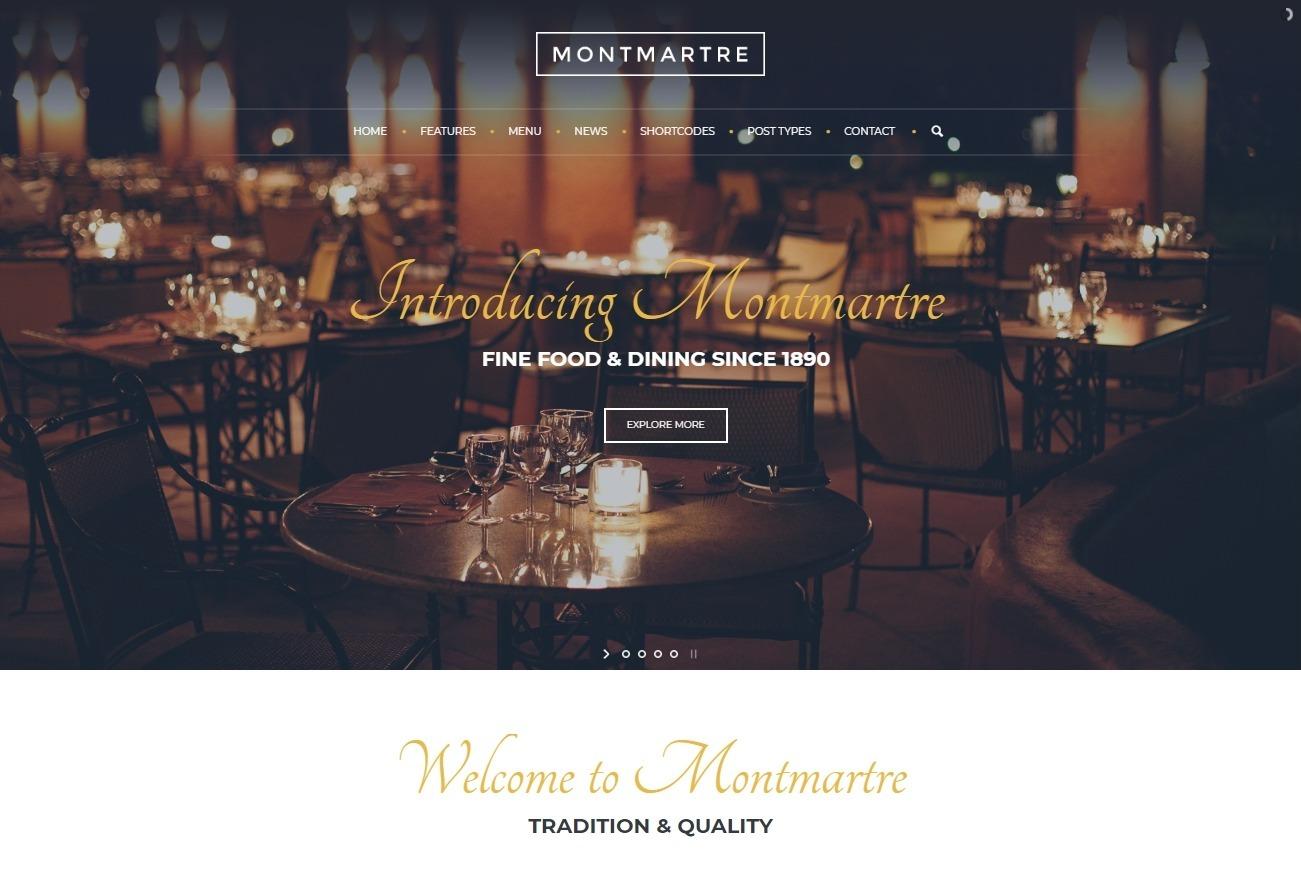 Montmartre Elegant High End WordPress Theme for Restaurants