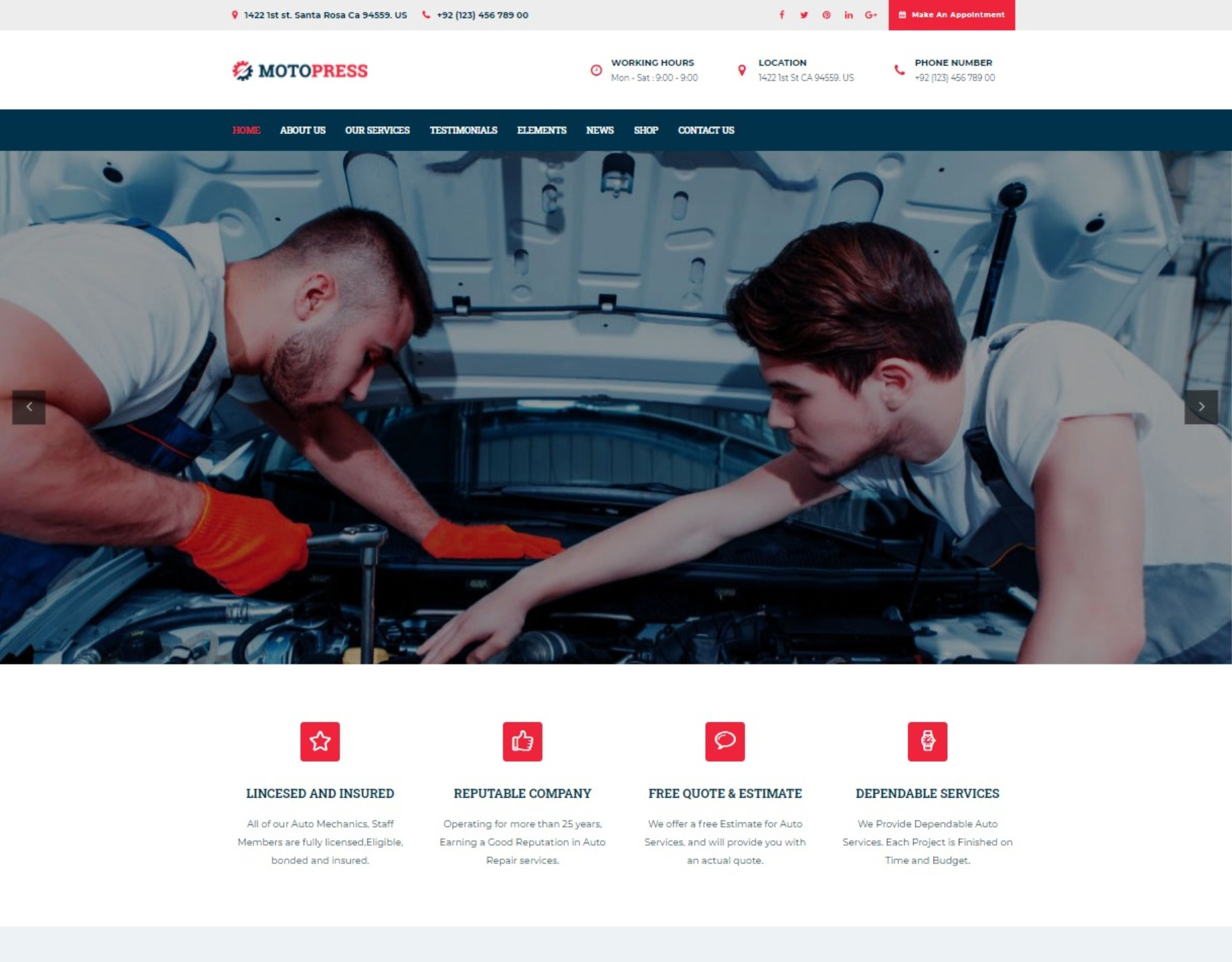 MotoPress Auto Mechanic and Workshop Theme