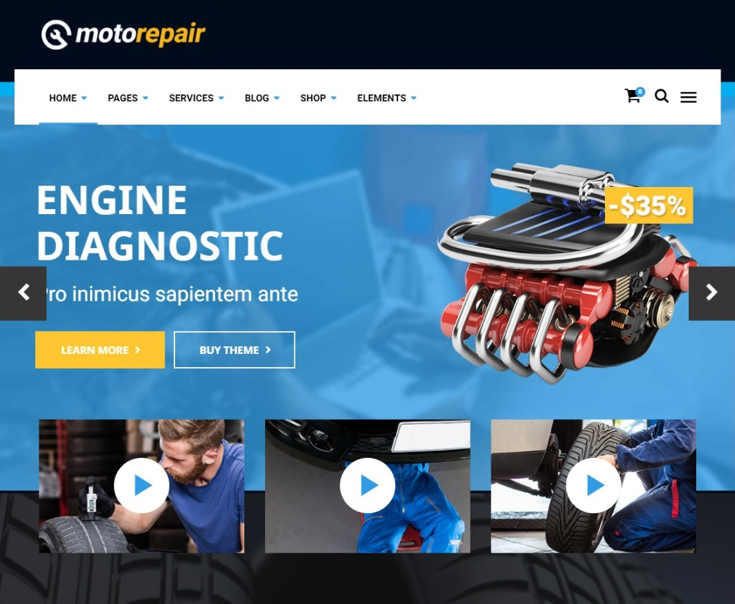 MotoRepair Auto Mechanic WordPress Theme