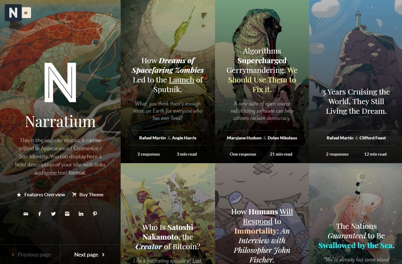 Narratium Multi Author Blog with Bold Styling