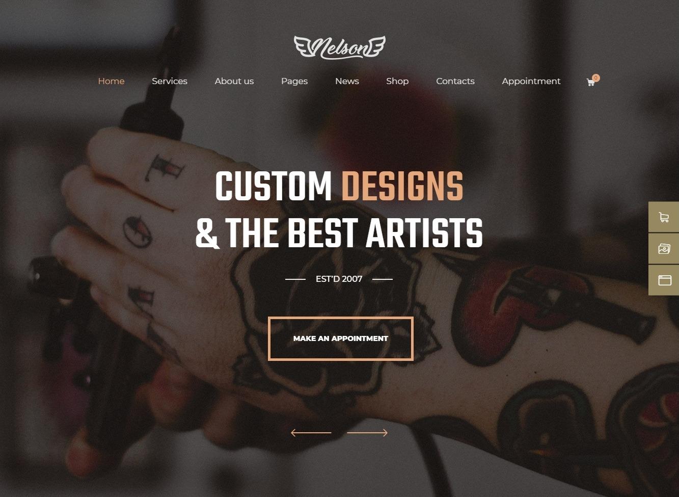 Nelson Tattoo Parlor WordPress Theme