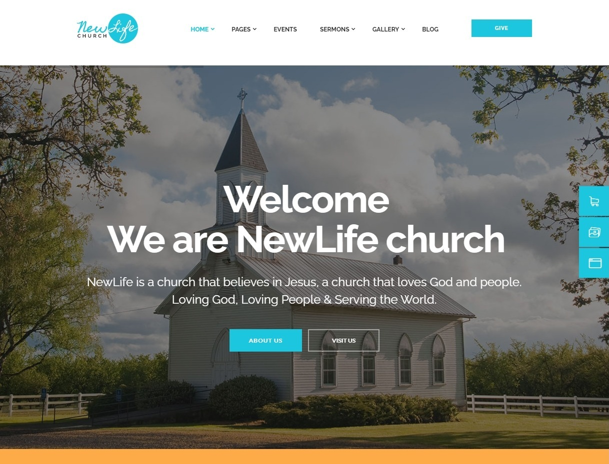 New Life Church WordPress Theme for Church Services