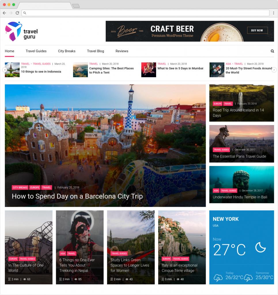 NewStar Flexible WordPress Travel Magazine