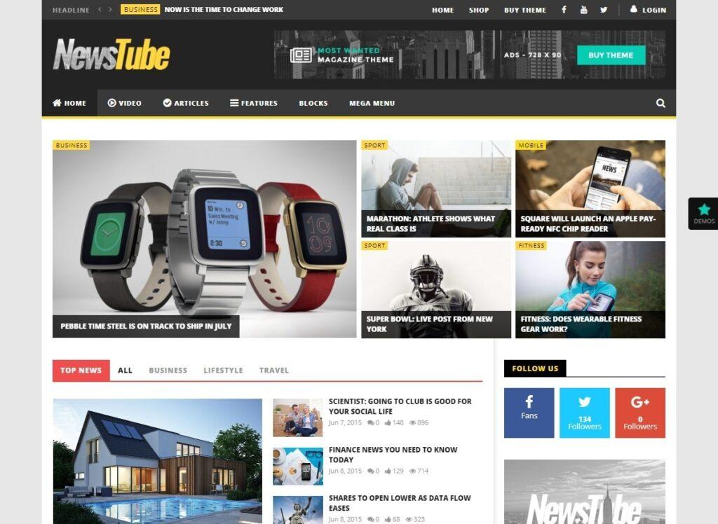NewsTube WordPress Theme for Video News Magazines