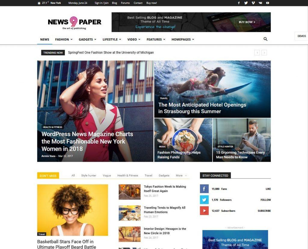 Newspaper 9 The Best News Responsive WordPress Theme