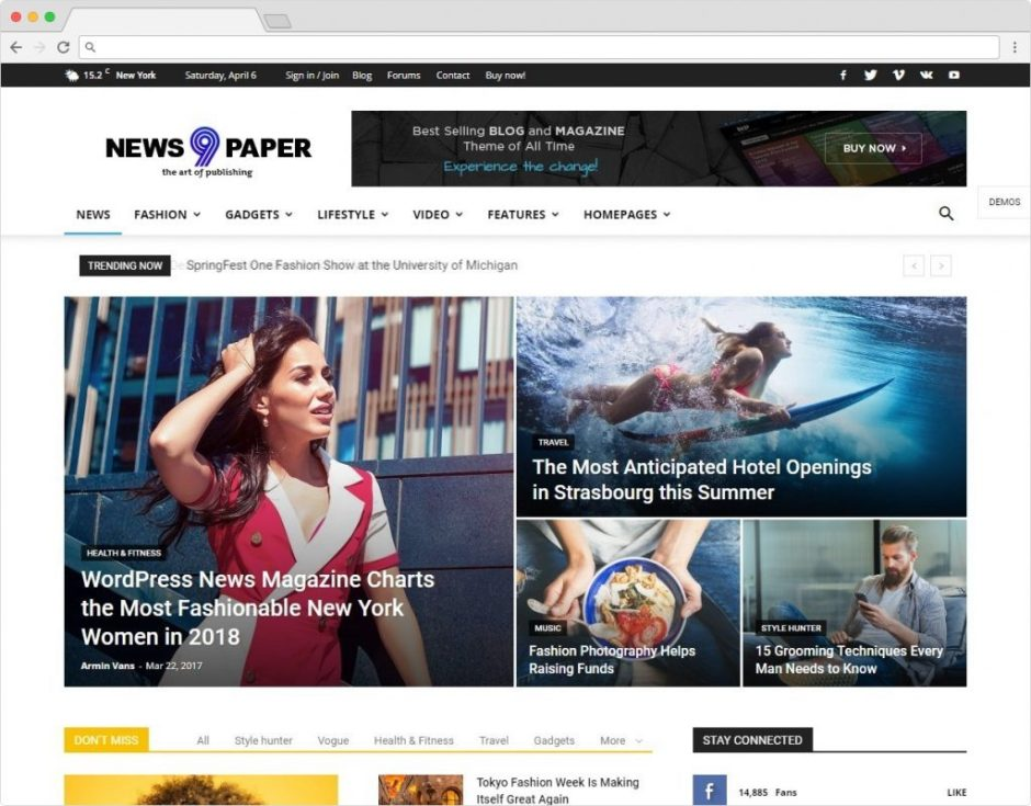 Newspaper 9 WordPress Adsense Magazine Theme With BuddyPress