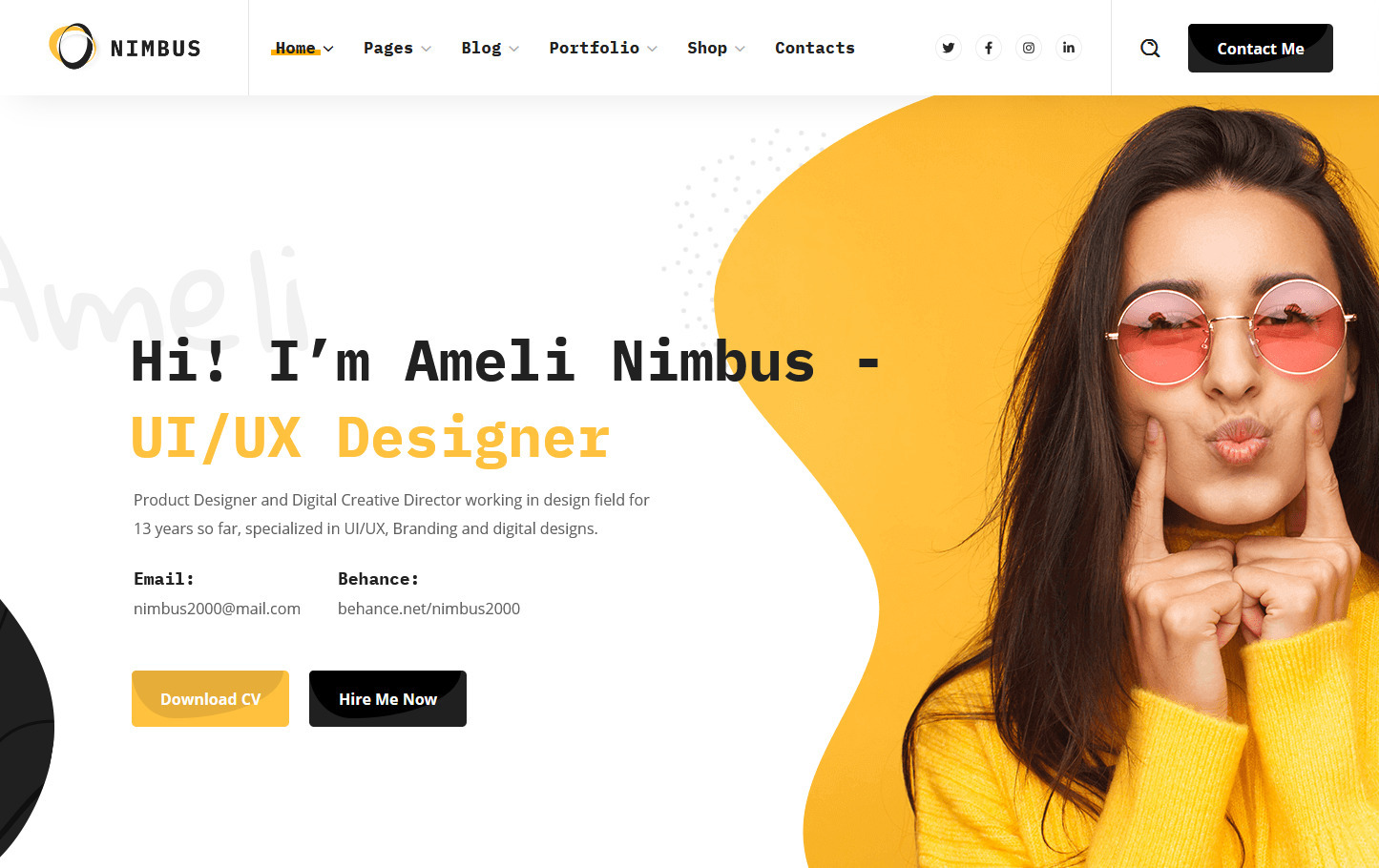 Nimbus CV Portfolio WordPress Theme