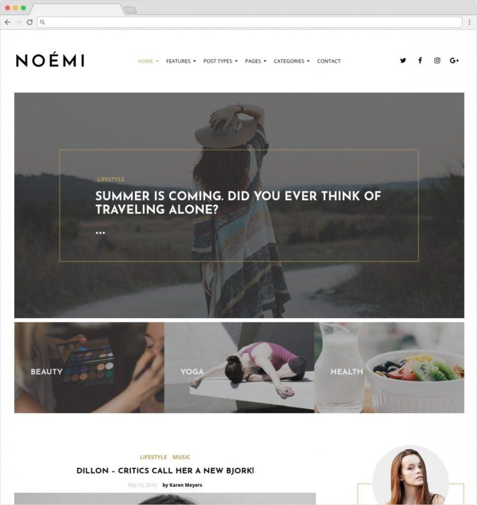 Noemi Lifestyle Blog And Magazine WP Theme