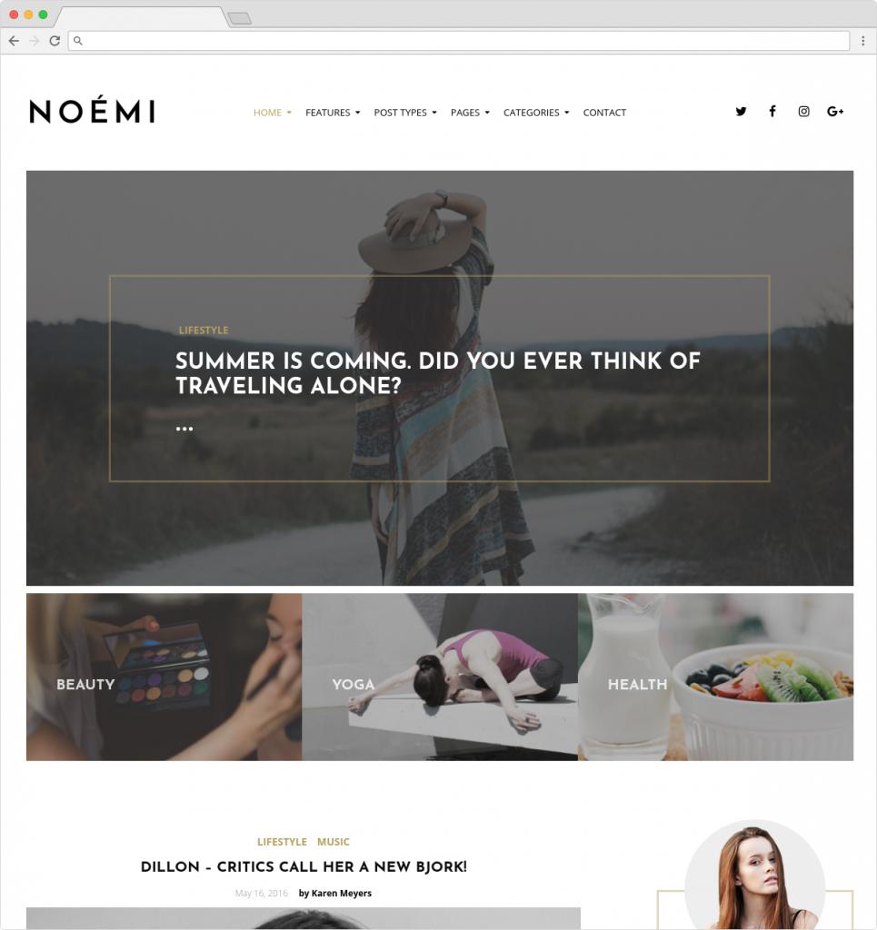 Noemi Lifestyle Blog Minimal Magazine Writing Theme