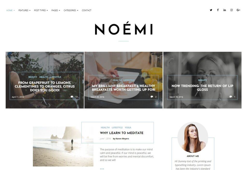 Noemi Minimalist WordPress Blog Theme