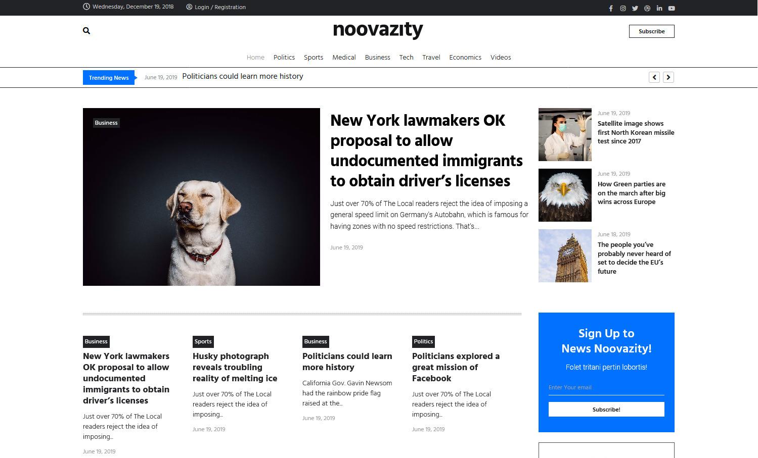 Noovazity Clean Traditional WordPress Newspaper Theme