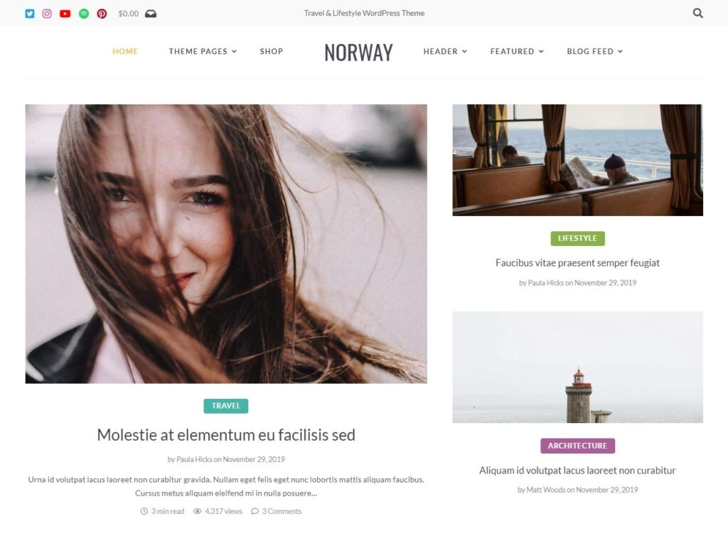 Norway Clean Minimal Blog with WooCommerce Support