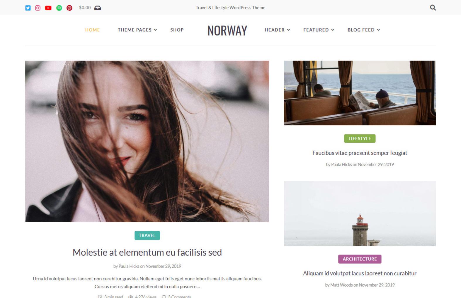 Norway Contemporary WordPress Theme with Stylish Blog