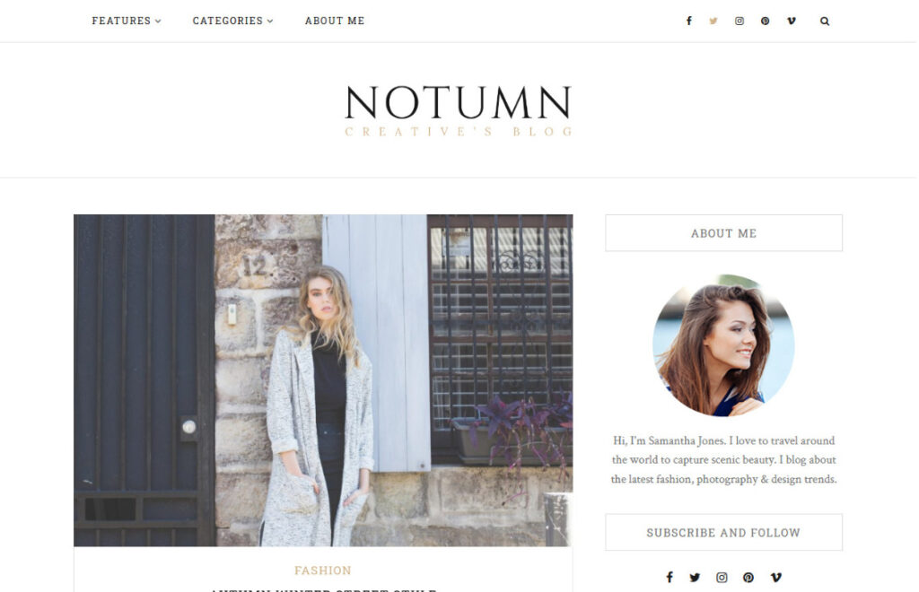 Notumn Clean Blog for Content Marketing Reviews