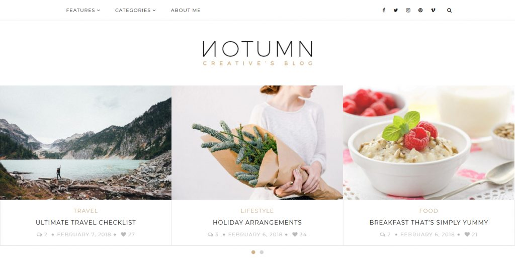 Notumn Clean Lifestyle Blog And Magazine Theme