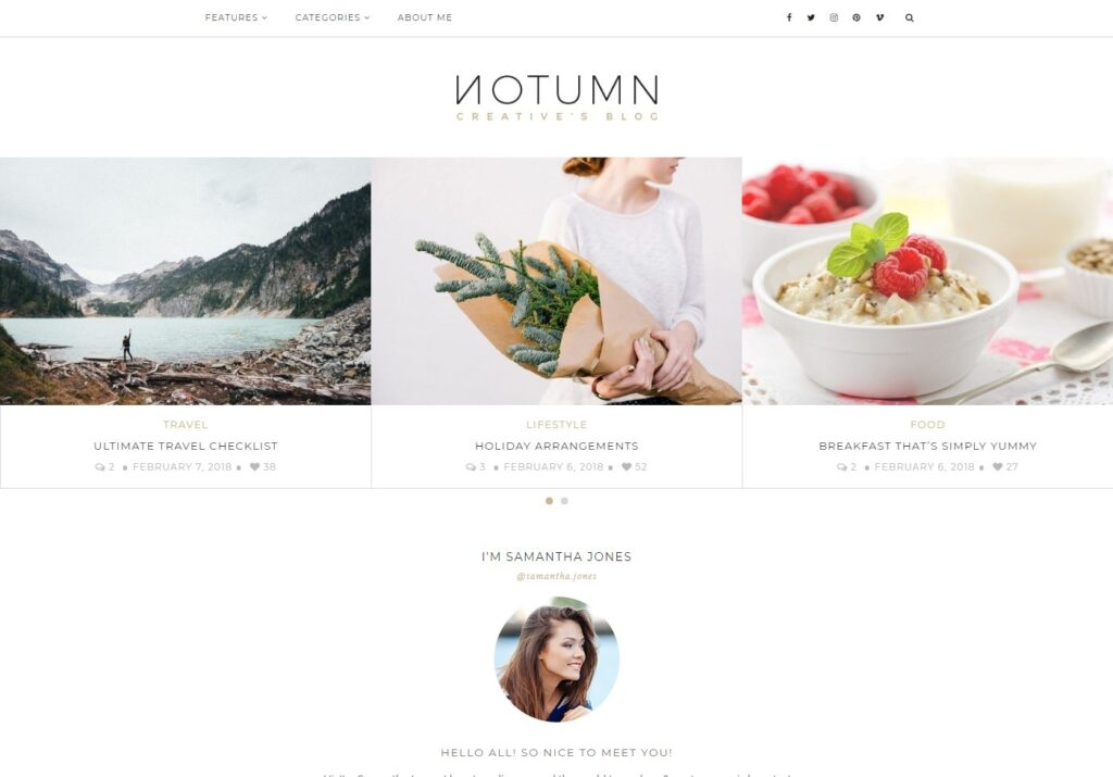 Notumn WordPress Minimalist Lifestyle Blogger Theme