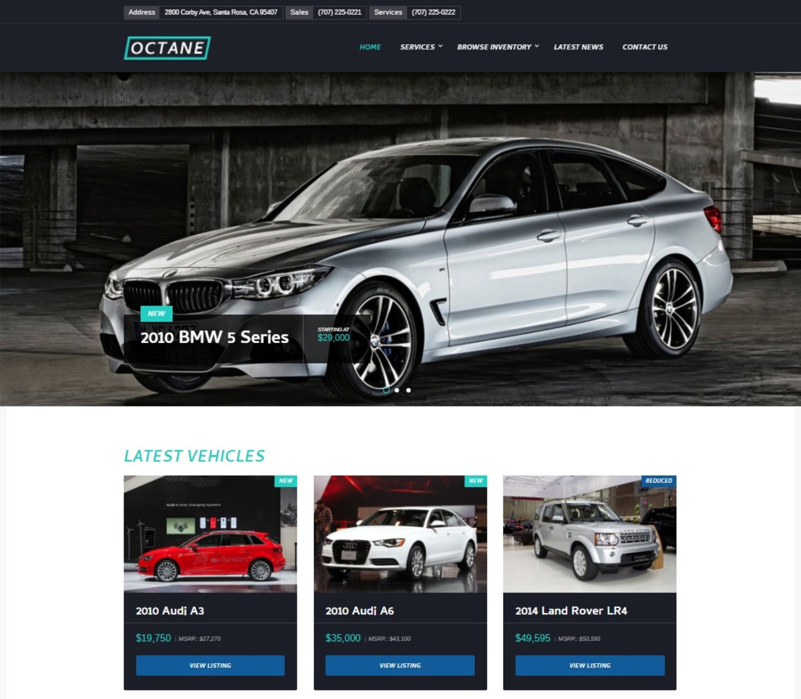 Octane Car Dealership Beautifully Designed Auto Dealer Theme