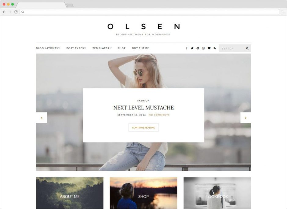 Olsen WordPress Womens Lifestyle Blogging WordPress Theme