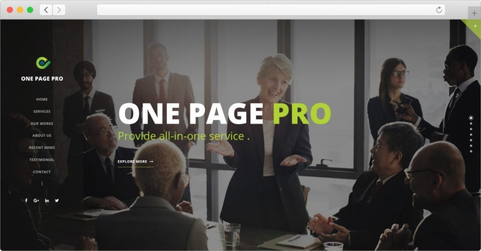 One Page Pro WordPress Theme For Single Page Sites