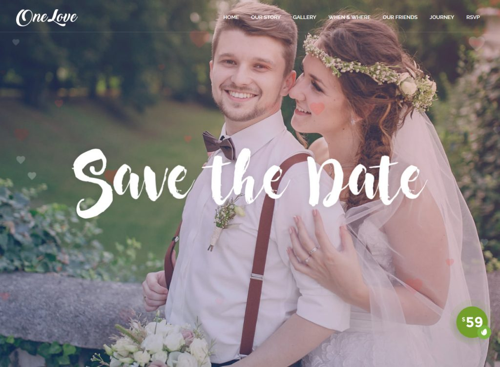 OneLove WordPress Wedding Events And Engagement Theme