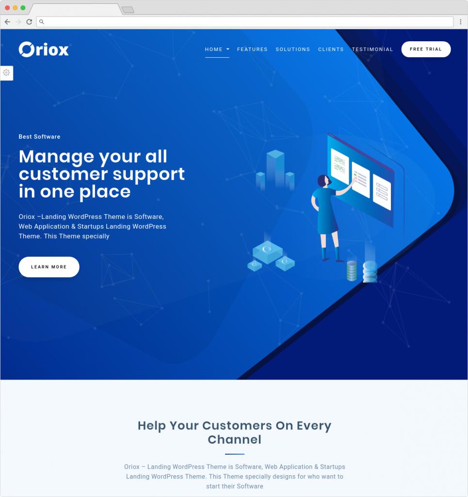 Oriox WordPress Landing Page Software Theme