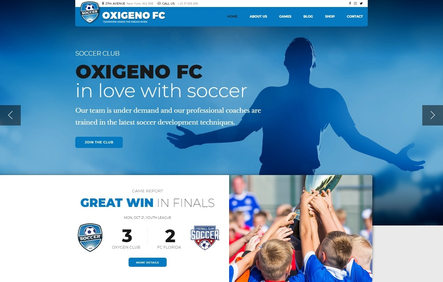 Oxigieno WordPress Soccer or Futbol WordPress Theme