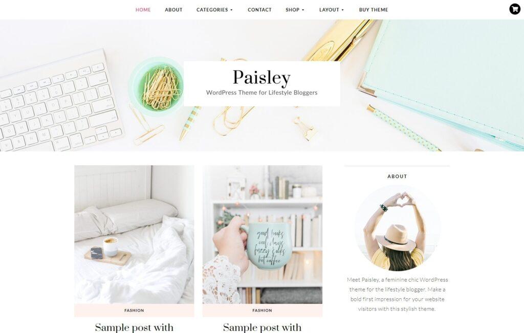 Paisley Feminine WordPress Lifestyle Blog Theme