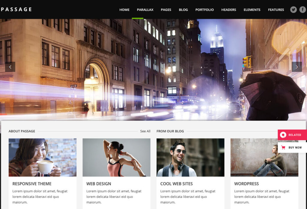 Passage WordPress Parallax One Page Resume Theme