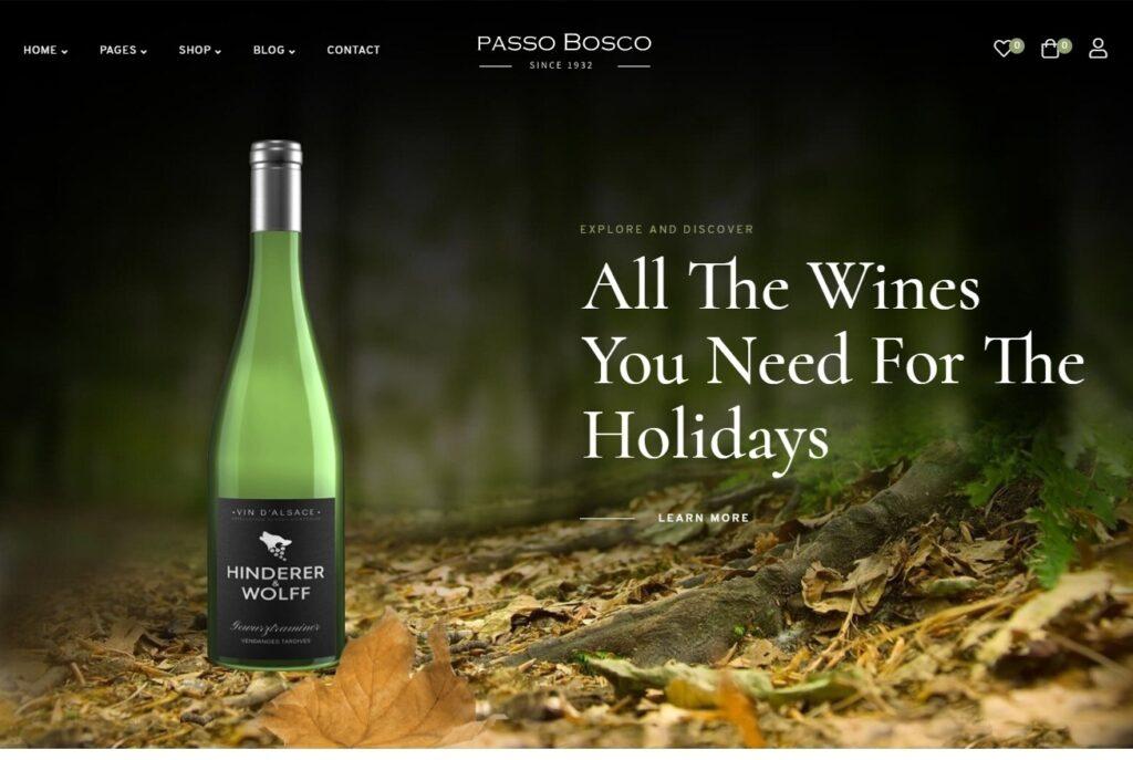 Passo Bosco Wine Shop Theme for WordPress