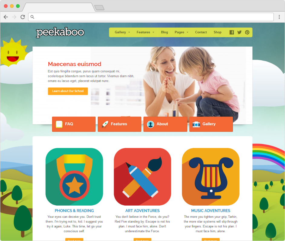 Peekaboo WordPress Childrens Education Theme