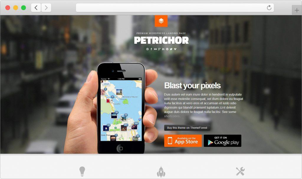 Petrichor Responsive WordPress Landing Page