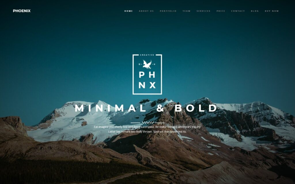 Phoenix Bold Minimal Theme for Coming Soon Websites
