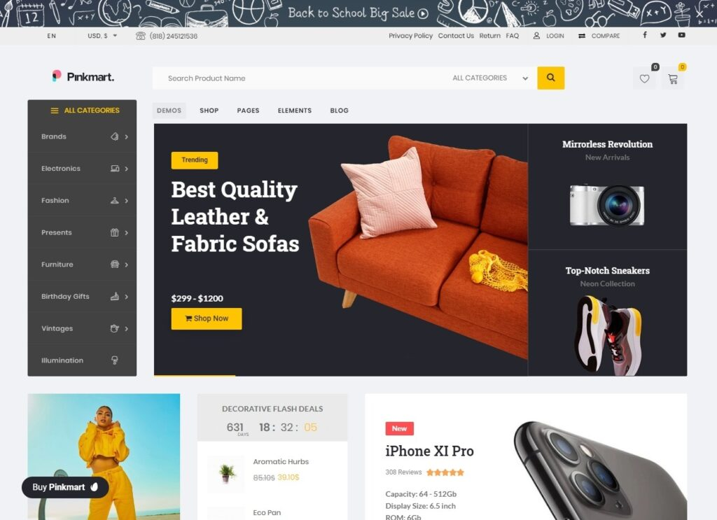 Pinkmart Highly Rated WooCommerce WordPress Theme