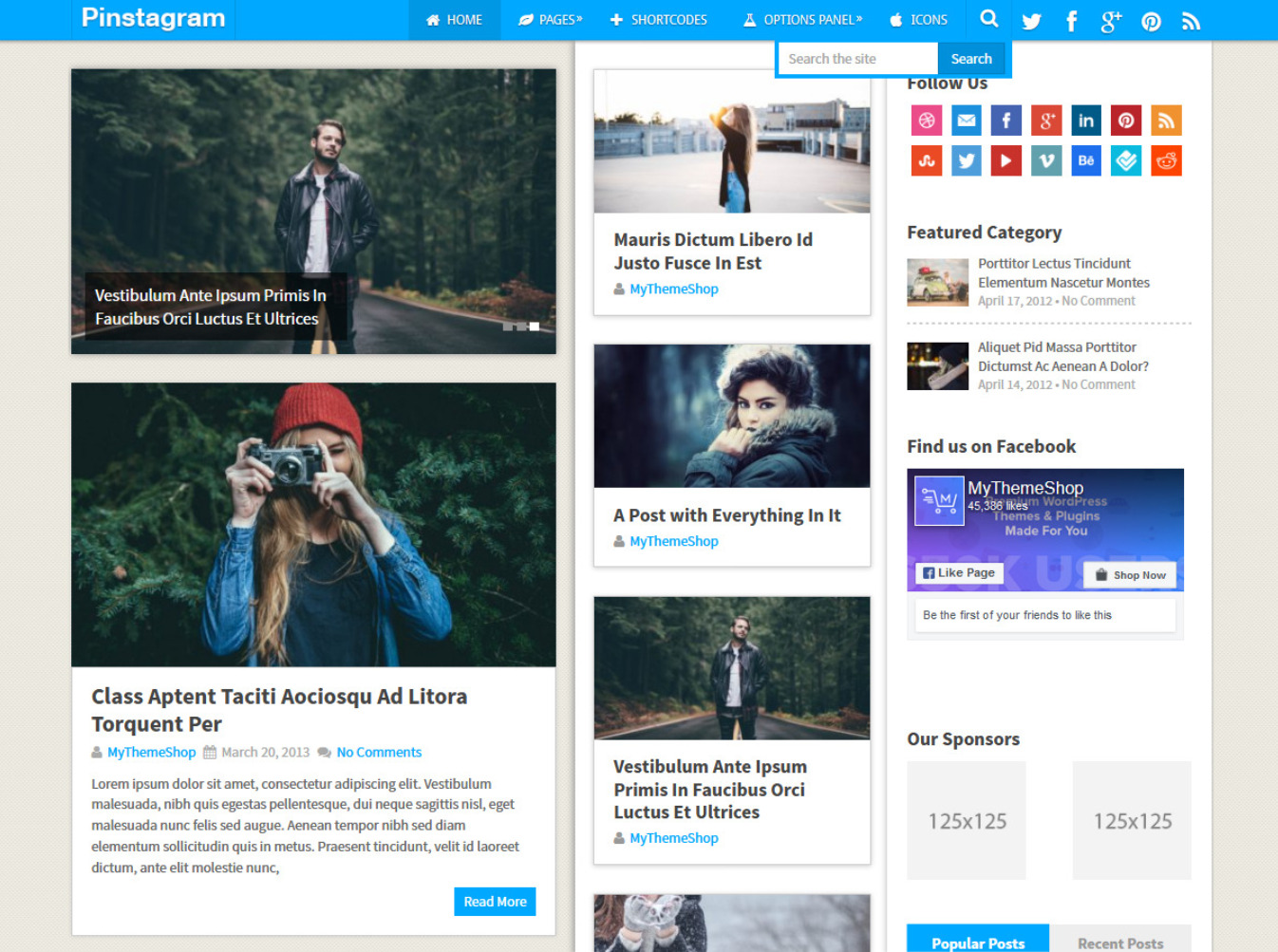 Pinstagram WordPress Pinterest Clone Theme