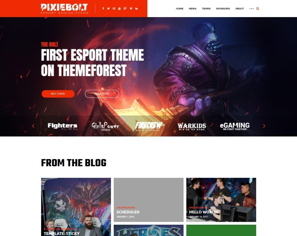 PixieBolt Live Streaming Gaming Magazine and Blog Theme