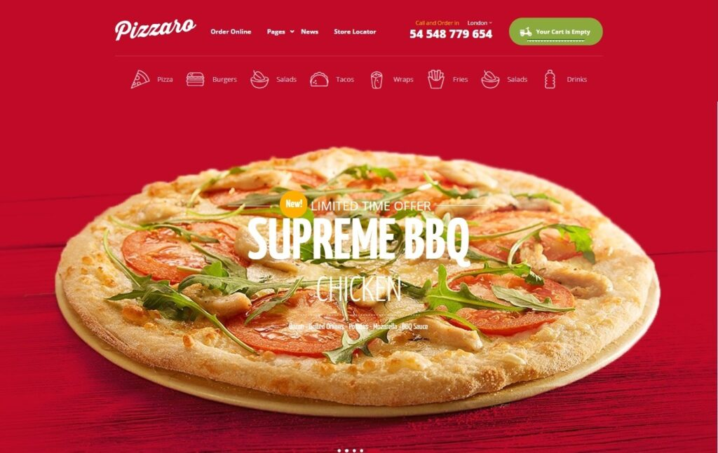 Pizzaro Fast Food and Restaurant WooCommerce Theme 1