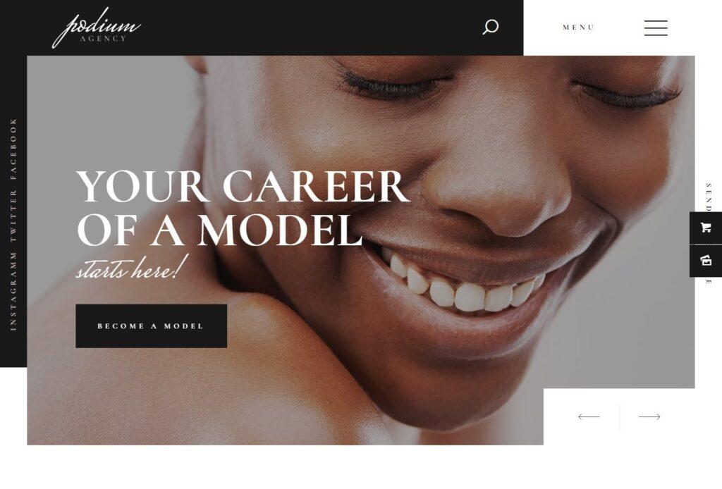 Podium Feminine Fashion Model Agency WordPress Theme