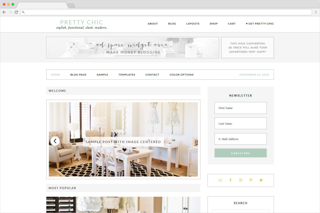 Pretty Chic Pro Feminine SEO Ready Genesis Child Theme