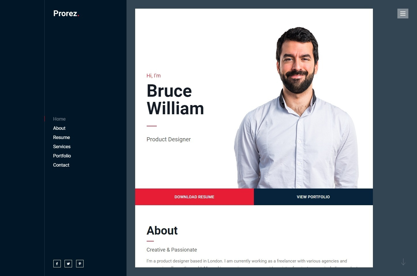 ProRez Professional Digital Resume WordPress Theme